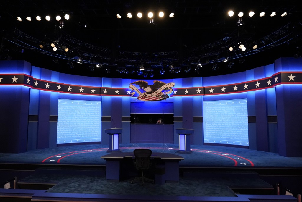 Lecterns for President Donald Trump and Democratic presidential candidate, former Vice President Joe Biden stand onstage as preparations take place fo...