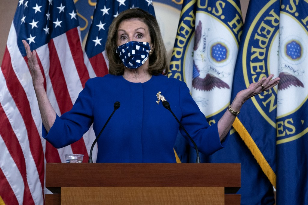 Speaker of the House Nancy Pelosi, D-Calif. speaks during a news conference on Capitol Hill, in Washington, Thursday, Oct. 22, 2020. (AP Photo/Jose Lu...