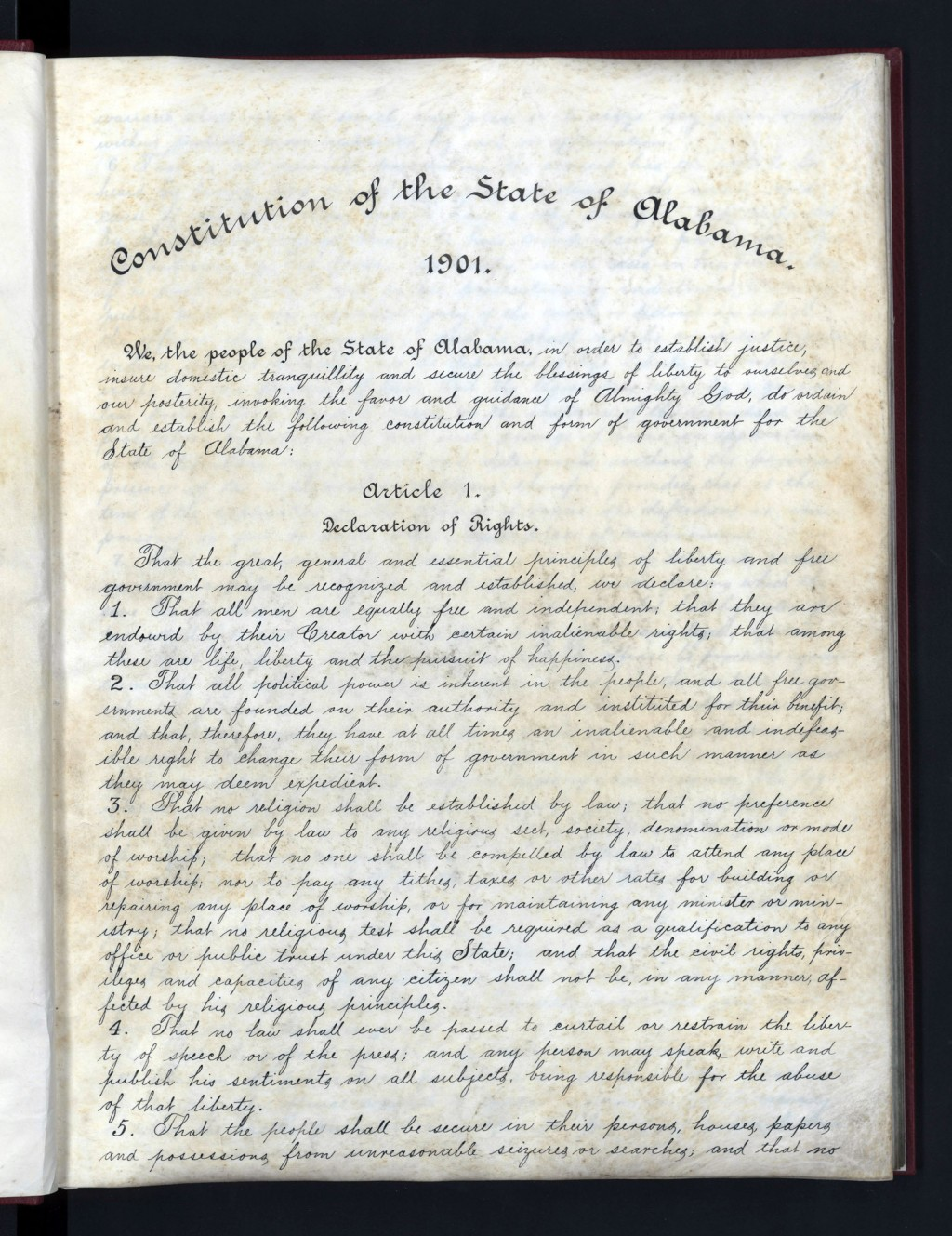 This undated image released by the Alabama Department of Archives and History shows Alabama's 1901 Constitution, which was intended to maintain white ...