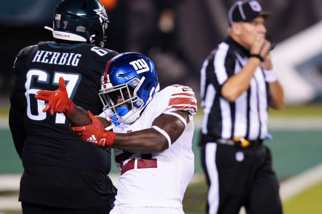 New York Giants' Jabrill Peppers reacts after a tackle during the first half of an NFL football game against the Philadelphia Eagles, Thursday, Oct. 2...
