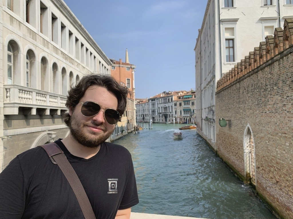 This 2019 photo provided by Mercedes Lemp shows Duncan Lemp in Venice, Italy.  Lemp became a martyr for an anti-government movement after a police off...