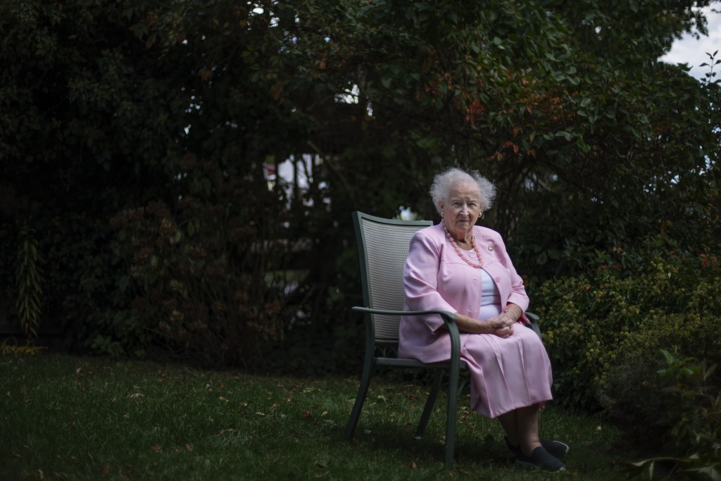 Ginny Mucciaccio, 90, a direct descendant of a Pilgrim who came over on the Mayflower, sits for a portrait in Plymouth, Mass., Thursday, Oct. 1, 2020....