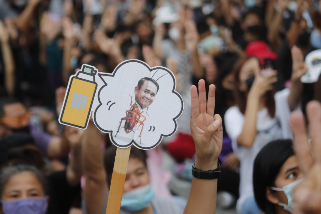 Pro-democracy activists display a placard with Thai Prime Minister Prayuth Chan-ocha's head attached to a cockroach during a protest outside remand pr...