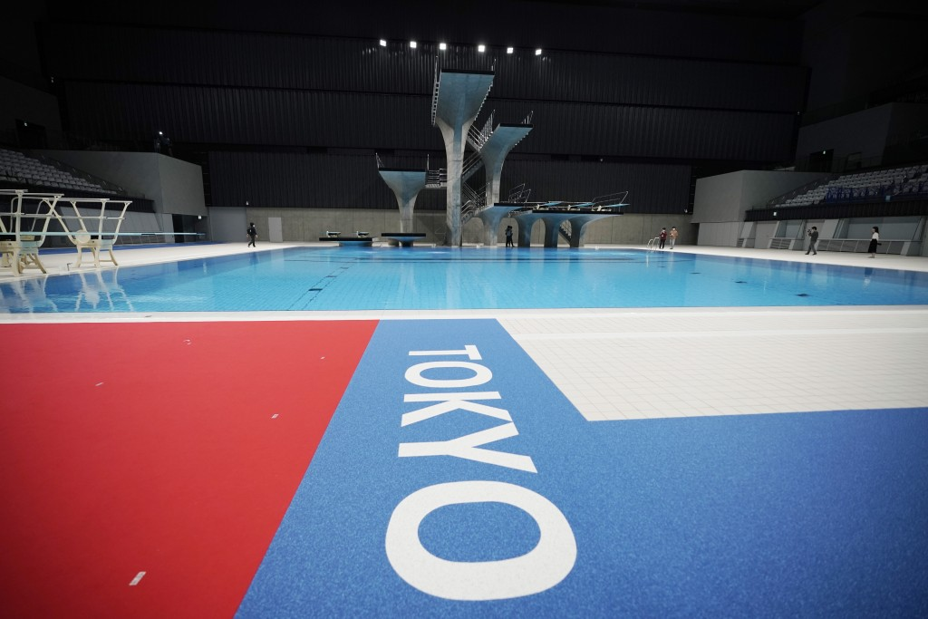 The diving platform of Tokyo Aquatics Center is seen after a grand opening ceremony Saturday, Oct. 24, 2020, in Tokyo. The Tokyo 2020 organizing commi...