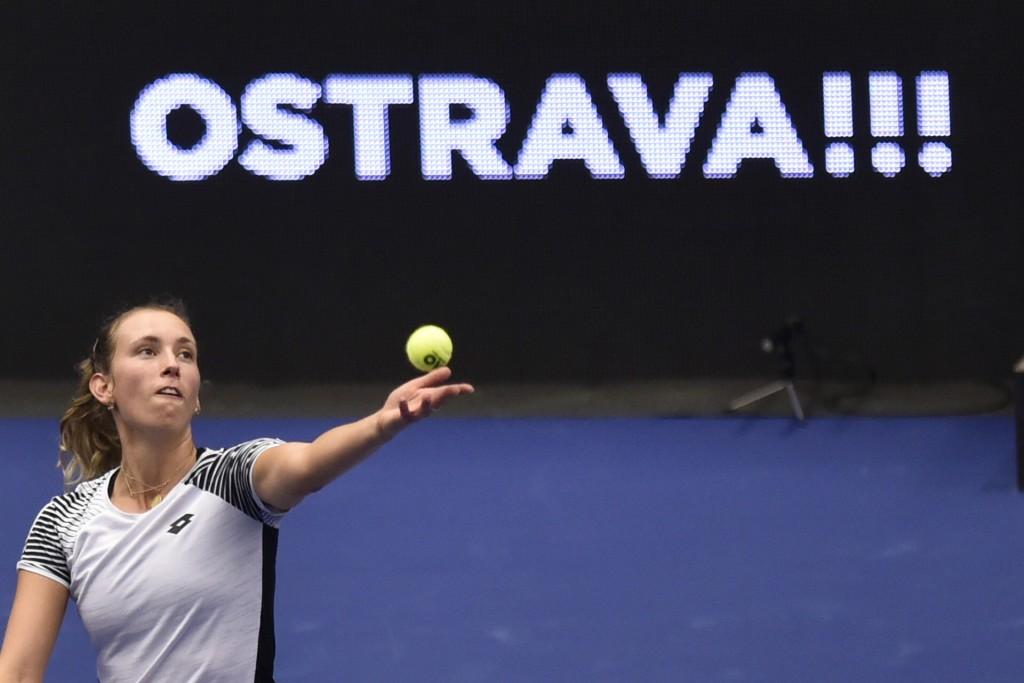 Elise Mertens of Belgium plays a ball against Victoria Azarenka of Belarus during the Ostrava Open 2020 tennis tournament match in Ostrava, Czech Repu...