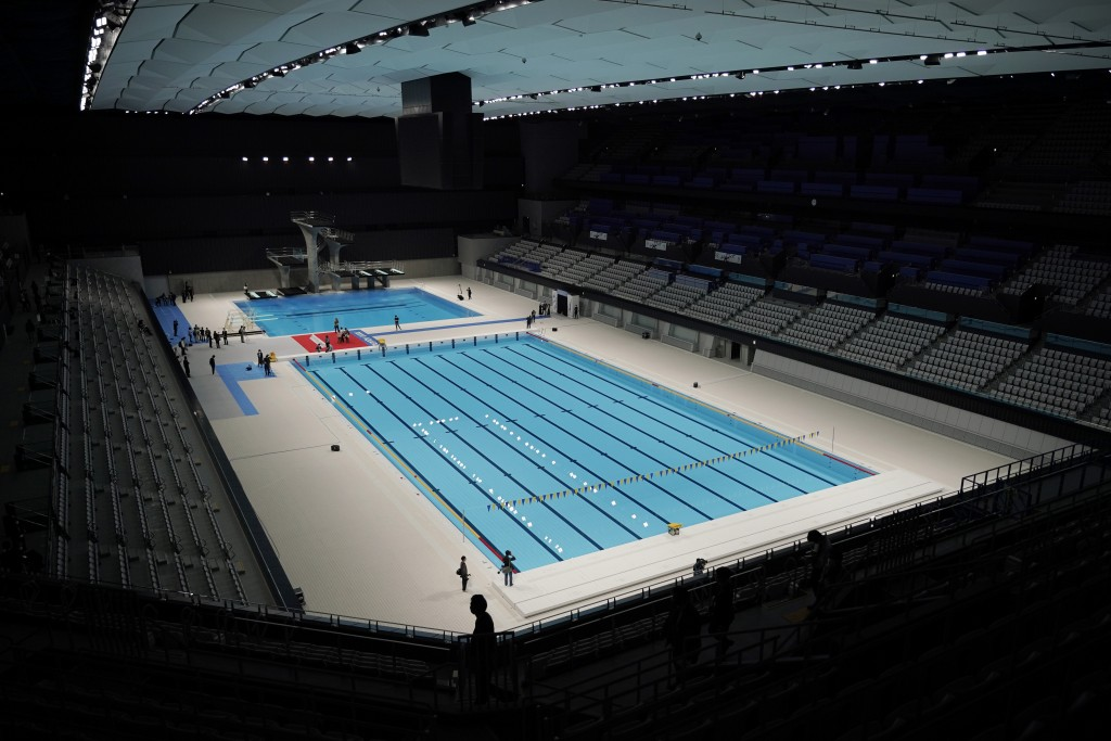 Tokyo Aquatics Center is seen after its grand opening ceremony Saturday, Oct. 24, 2020, in Tokyo. The Tokyo 2020 organizing committee held the grand o...