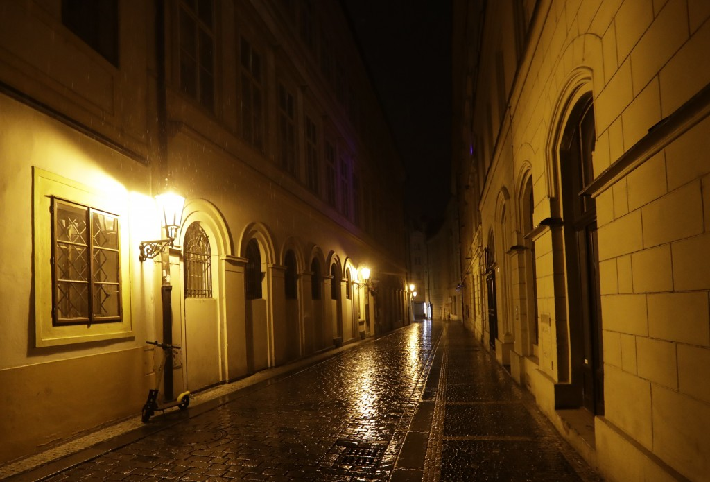 A view of an empty street downtown Prague, Czech Republic, Friday, Oct. 23, 2020. The steep rise of coronavirus infections in the hard hit Czech Repub...