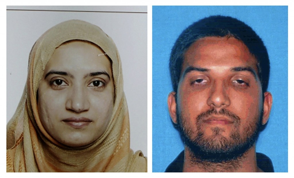 FILE - This undated combination of file photos provided by the FBI, left, and the California Department of Motor Vehicles shows San Bernardino shootin...