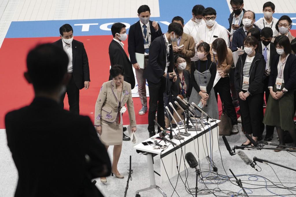 Tokyo Gov. Yuriko Koike speaks to media after a grand opening ceremony of Tokyo Aquatics Center Saturday, Oct. 24, 2020, in Tokyo. The Tokyo 2020 orga...