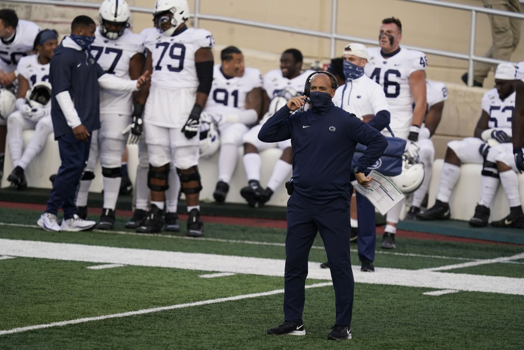 Penn State head coach James Franklin watches during the second half of an NCAA college football game against Indiana, Saturday, Oct. 24, 2020, in Bloo...