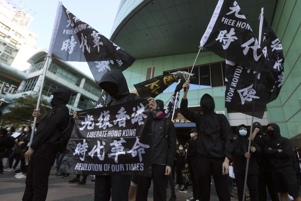 Hong Kong protesters and Taiwanese supporters gather, holding slogan to demand the release of the 12 Hong Kong protesters that have been arrested by m...