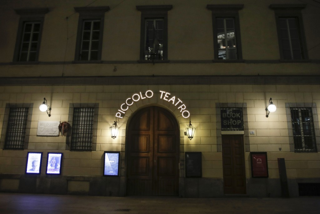 The entrance of the Piccolo theater is shut, in Milan, northern Italy, early Sunday, Oct. 25, 2020. Since the 11 p.m.-5 a.m. curfew took effect last T...
