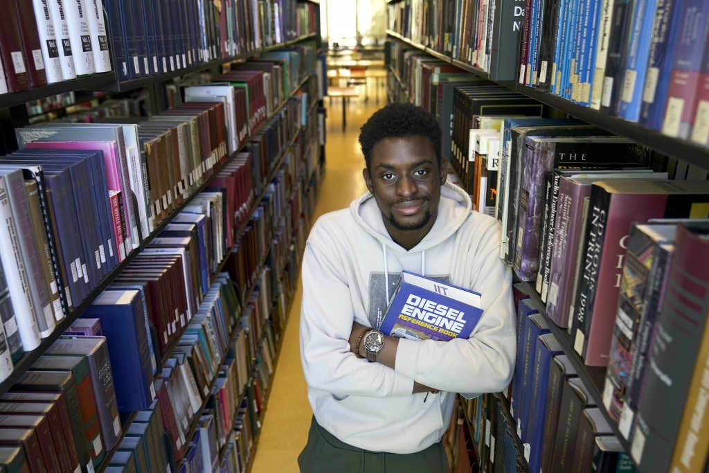 Illinois Institute of Technology student Wofai Ewa, originally from Nigeria, poses for a portrait Friday, Sept. 18, 2020, at the institute's library i...