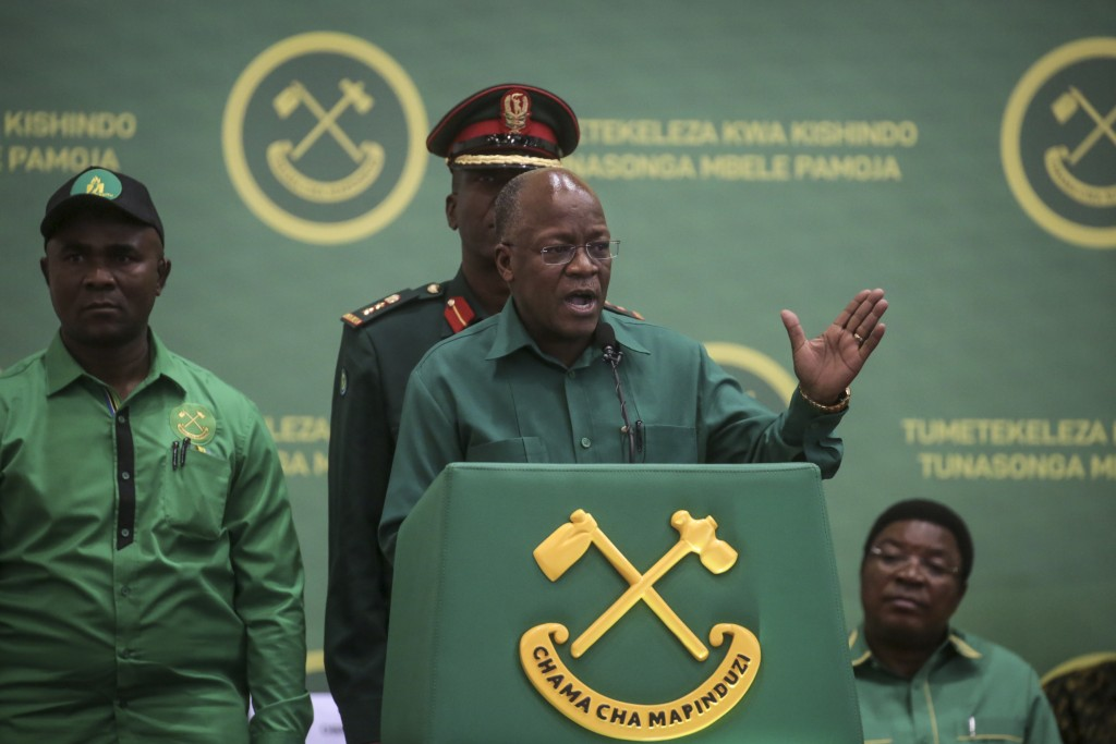 FILE - In this Saturday, July 11, 2020 file photo, President John Magufuli speaks at the national congress of his ruling Chama cha Mapinduzi (CCM) par...