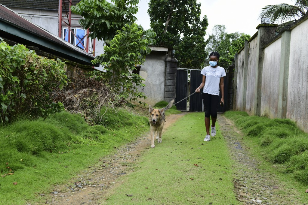 In this photo taken on Wednesday, Oct. 14, 2020, Dodeye Ewa, 16 year old walk with a dog outside her family compound in Calabar, Nigeria. The third ch...