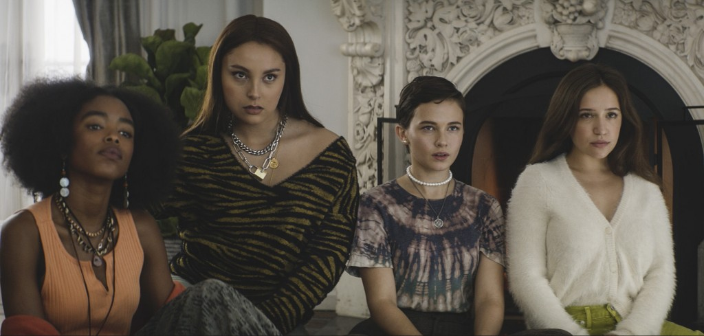 """This image released by Sony Pictures shows, from left, Lovie Simone, Zoey Luna, Cailee Spaeny and Gideon Adlon in a scene from """"The Craft: Legacy."""" (C..."""