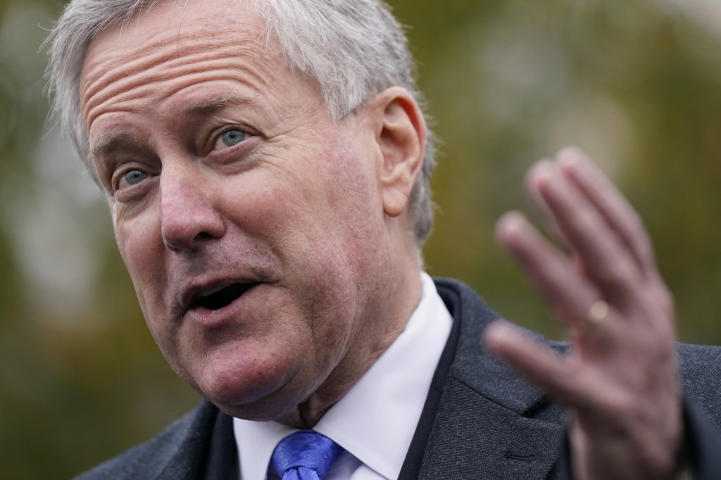 White House chief of staff Mark Meadows speaks with reporters outside the White House, Monday, Oct. 26, 2020, in Washington. (AP Photo/Patrick Semansk...