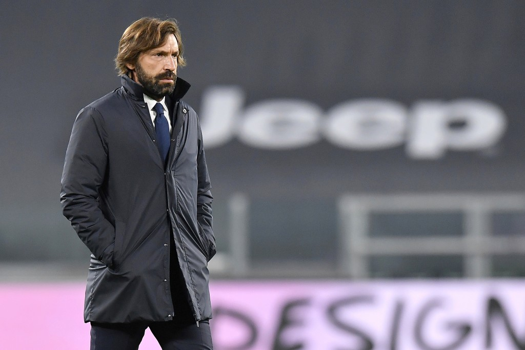 Juventus coach Andrea Pirlo walks on the pitch prior to the Serie A soccer match between Juventus and Hellas Verona, at the Allianz Stadium in Turin, ...