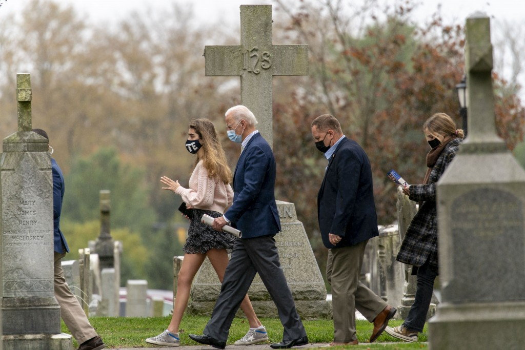 Democratic presidential candidate former Vice President Joe Biden leaves St. Joseph On the Brandywine Roman Catholic Church with his granddaughters Na...