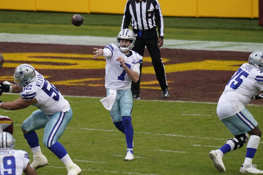 Dallas Cowboys quarterback Ben DiNucci (7) throws downfield in the second half of an NFL football game, Sunday, Oct. 25, 2020, in Landover, Md. Washin...