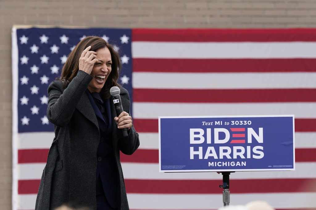 Democratic vice presidential candidate Sen. Kamala Harris, D-Calif., speaks during a campaign event, Sunday, Oct. 25, 2020, in Detroit. (AP Photo/Carl...