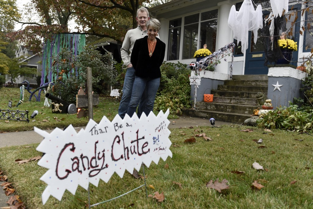 Carol McCarthy and her husband, Tom, pose for a portrait at their home they decorated for Halloween, Monday, Oct. 26, 2020, in Palmyra, N.J. (AP Photo...