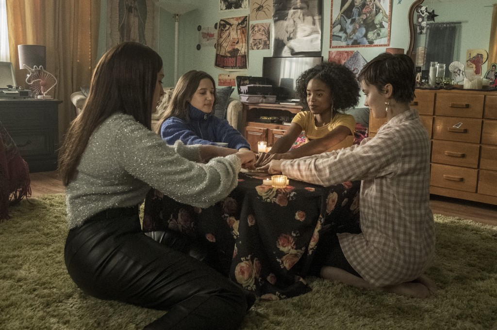 """This image released by Sony Pictures shows, from left, Zoey Luna, Gideon Adlon, Lovie Simone and Cailee Spaeny in a scene from """"The Craft: Legacy."""" (C..."""