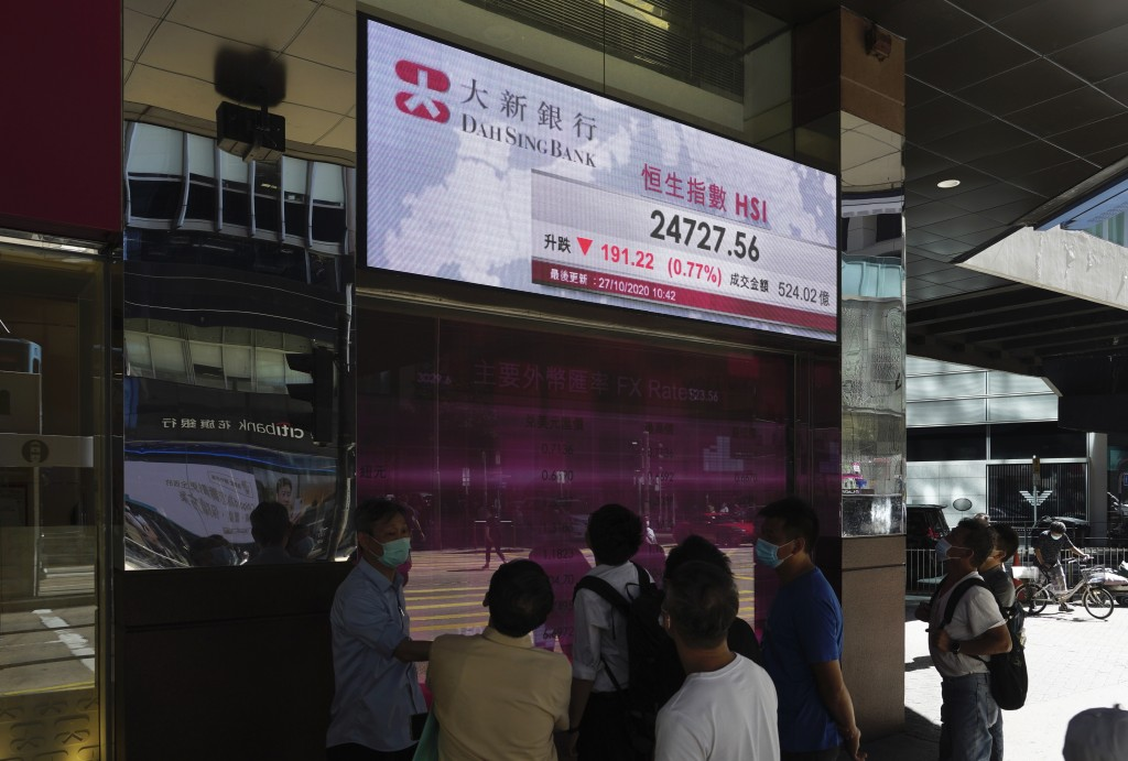 People walk past a bank's electronic board showing the Hong Kong share index at Hong Kong Stock Exchange Tuesday, Oct. 27, 2020. Shares skidded in Asi...