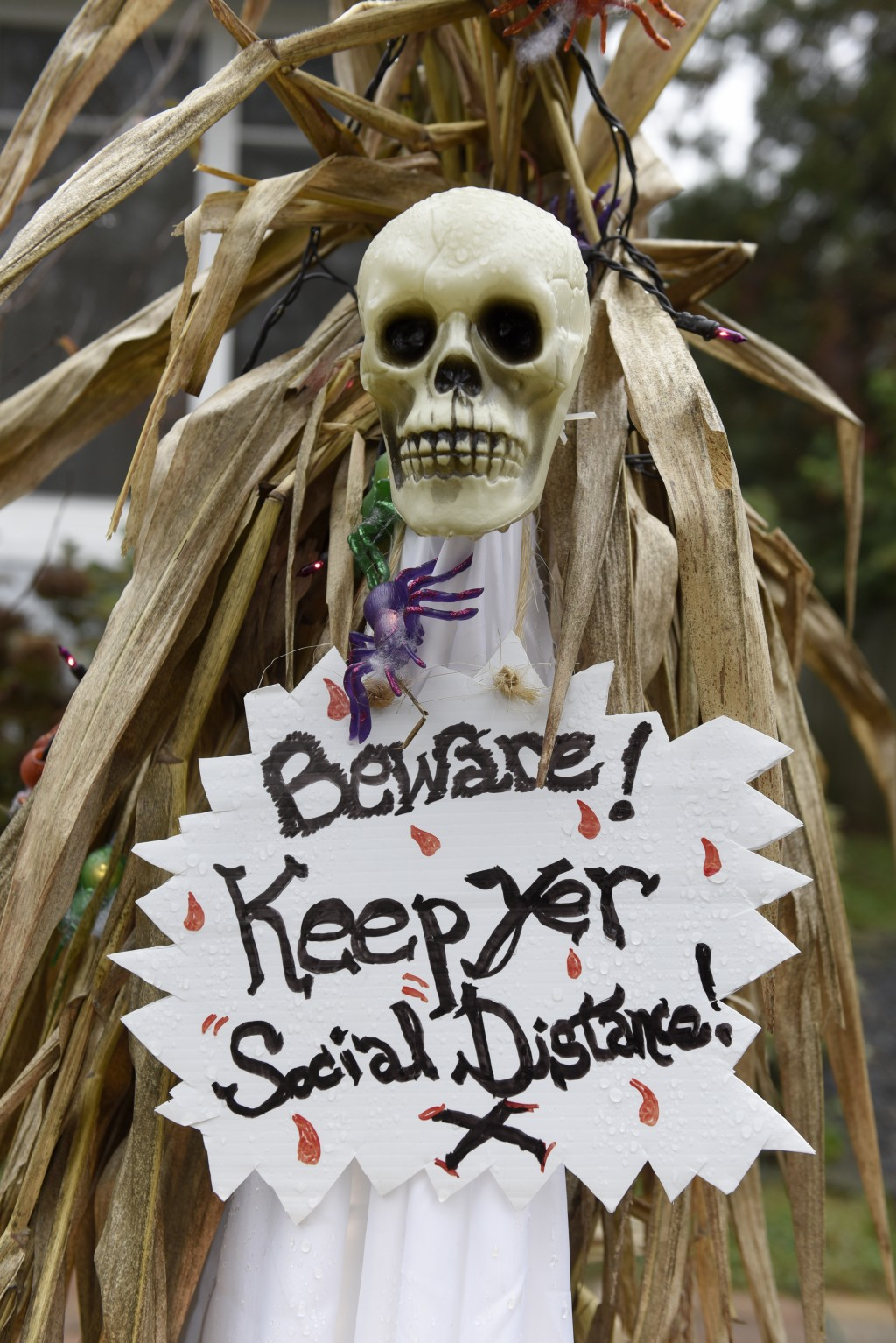 Halloween decorations are seen at the home of Carol McCarthy, reminding people to be safe while trick-or-treating during the COVID-19 pandemic, Monday...