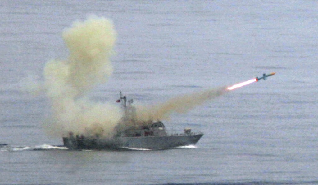"FILE - In this May 16, 2007, file photo, a Taiwanese navy frigate launches a ""Harpoon"" surface-to-surface missile during the second day of the annual ..."