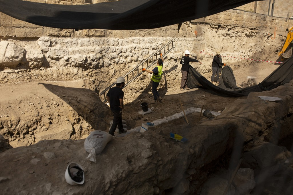 Workers excavate inside the Tower of David Museum in the Old City of Jerusalem, Wednesday, Oct. 28, 2020. Jerusalem's ancient citadel is devoid of tou...