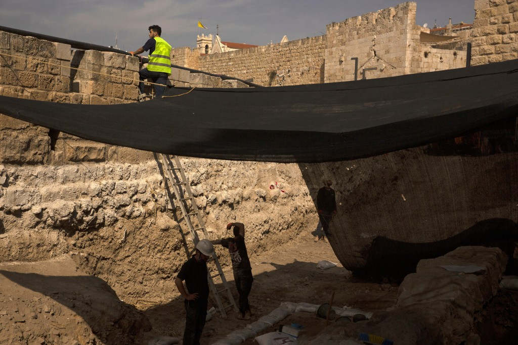Workers on a construction site inside the Tower of David Museum in the Old City of Jerusalem, Wednesday, Oct. 28, 2020. Jerusalem's ancient citadel is...