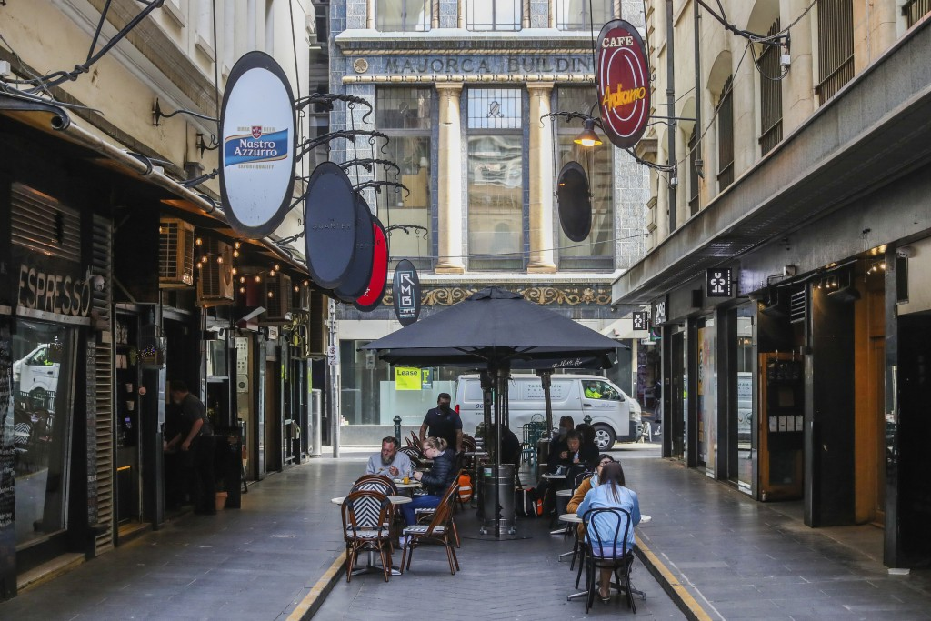 Outdoor diners are seen at a popular laneway cafe precinct in Melbourne, Australia, Wednesday, Oct. 28, 2020. Australia's second largest city of Melbo...