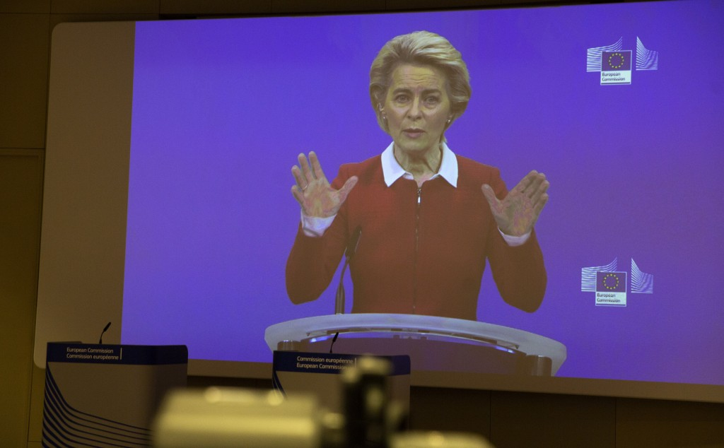 European Commission President Ursula von der Leyen speaks via video conference into a press room at EU headquarters in Brussels, Wednesday, Oct. 28, 2...