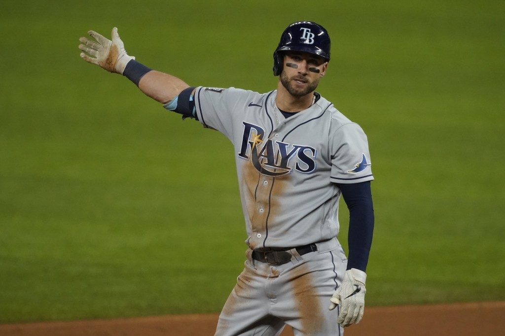Tampa Bay Rays' Kevin Kiermaier reacts after his double against the Los Angeles Dodgers during the second inning in Game 6 of the baseball World Serie...