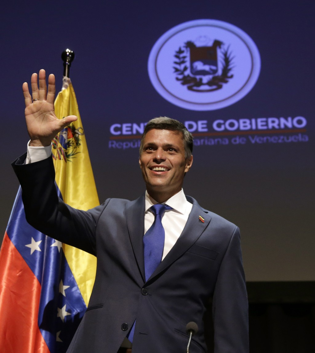 Venezuelan opposition leader Leopoldo Lopez waves during a press conference in Madrid on Tuesday, Oct. 27, 2020. Prominent opposition activist Leopold...