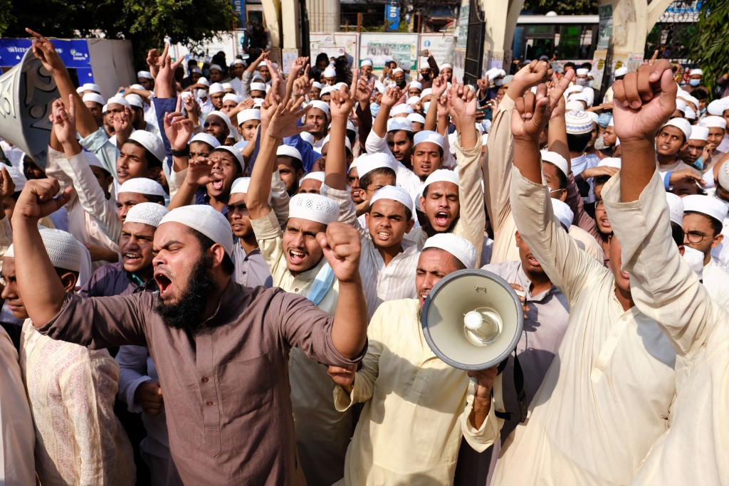Supporters of Islami Oikya Jote, an Islamist political party, protest against French President Emmanuel Macron and against the publishing of caricatur...