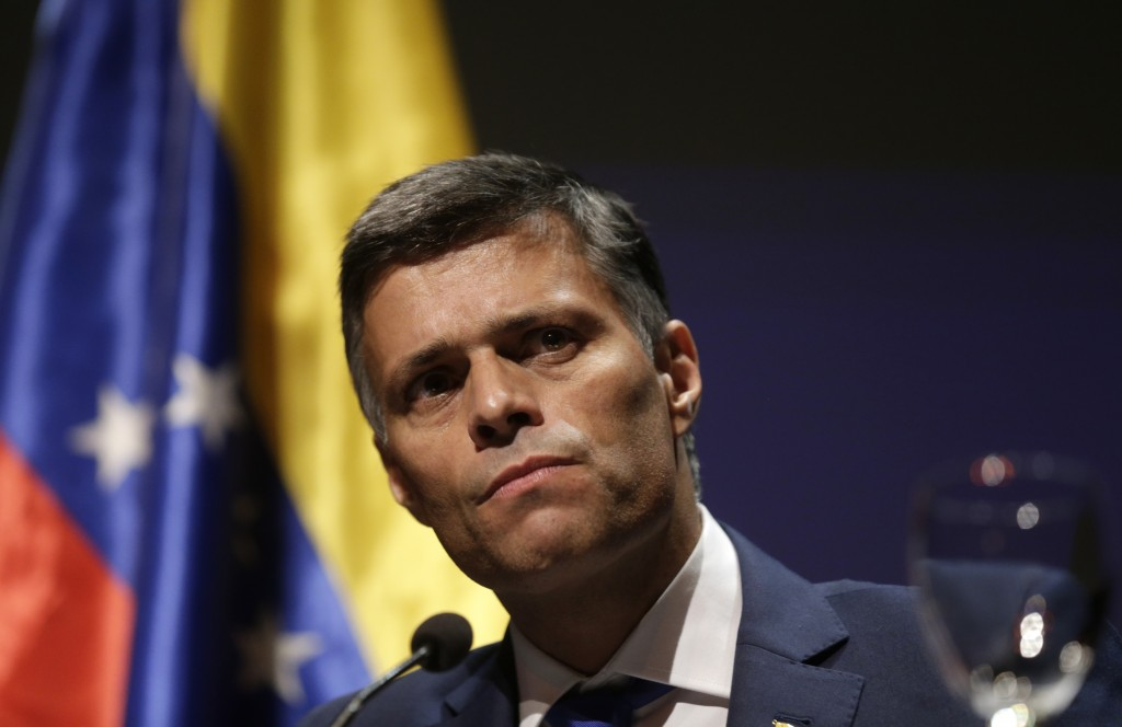 Venezuelan opposition leader Leopoldo Lopez takes part on a news conference in Madrid on Tuesday, Oct. 27, 2020. Prominent opposition activist Leopold...