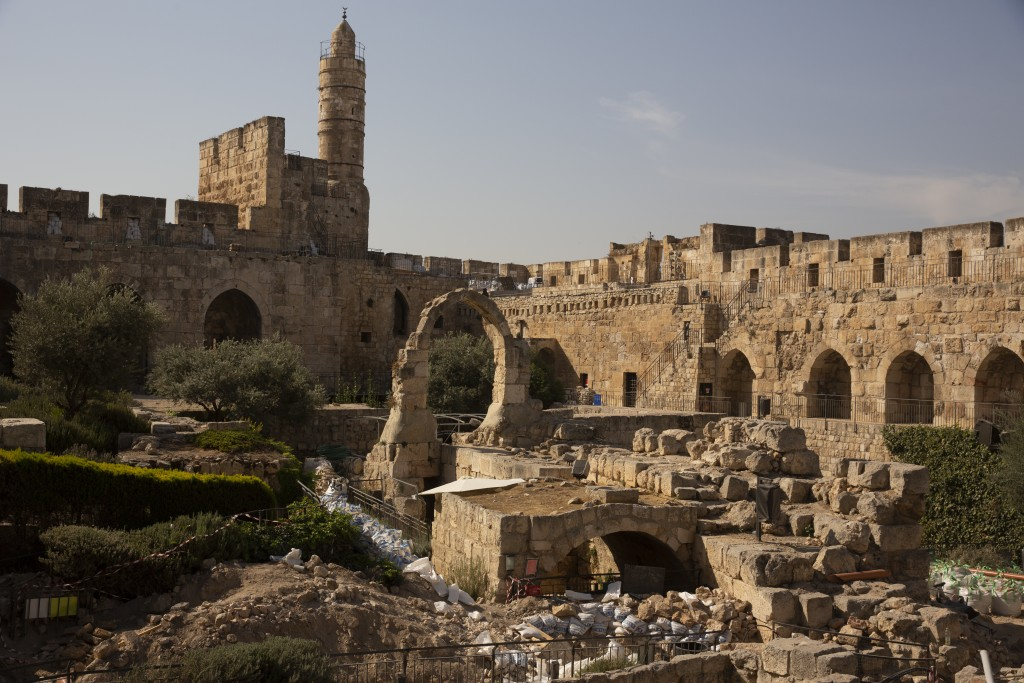 Construction material lies on the grounds at the Tower of David Museum in the Old City of Jerusalem, Wednesday, Oct. 28, 2020. Jerusalem's ancient cit...