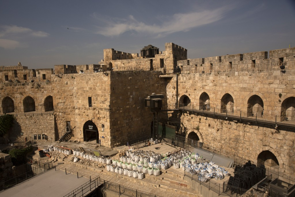 Construction material is ready for use inside the Tower of David Museum in the Old City of Jerusalem, Wednesday, Oct. 28, 2020. Jerusalem's ancient ci...