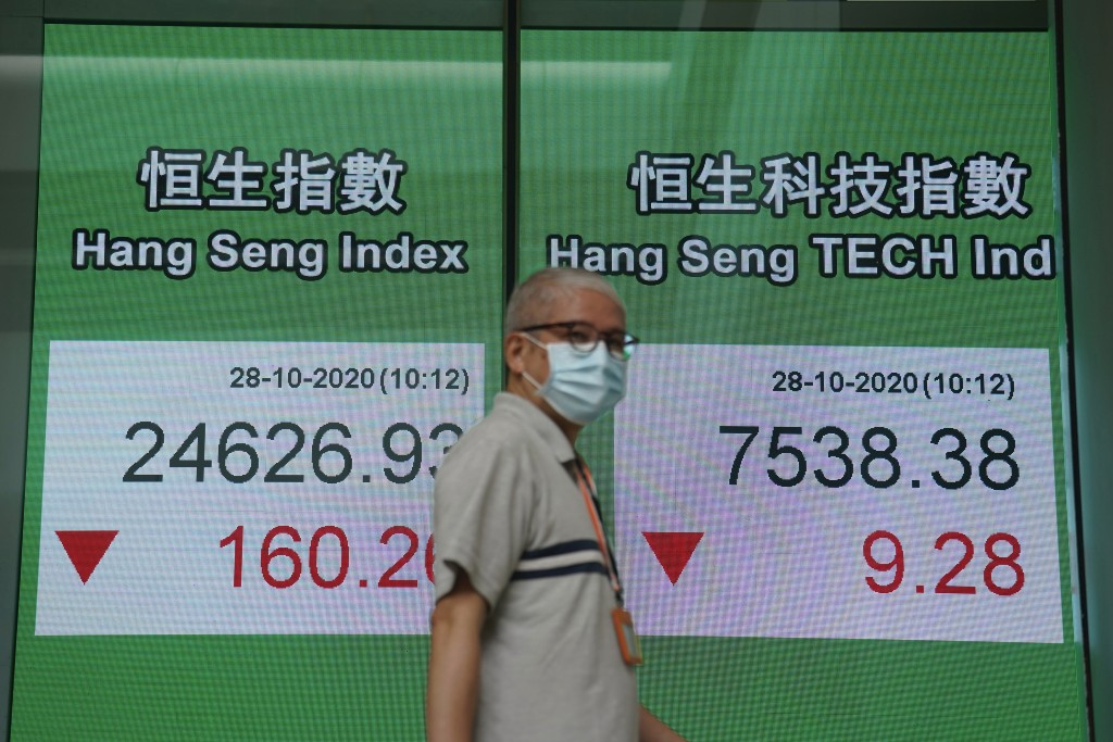 A man wearing a face mask walks past a bank's electronic board showing the Hong Kong share index in Hong Kong, Wednesday, Oct. 28, 2020. Asian shares ...