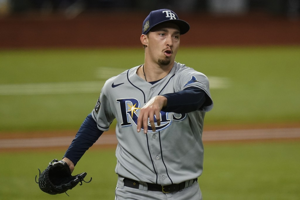 Tampa Bay Rays starting pitcher Blake Snell celebrates the end of the fifth inning against the Los Angeles Dodgers in Game 6 of the baseball World Ser...