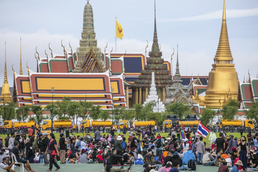FILE - In this Sept. 20, 2020, file photo, pro-democracy demonstrators gather at the Sanam Luang field during a protest in Bangkok, Thailand. Fed up w...