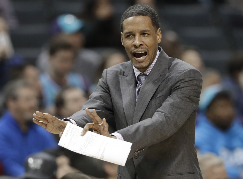 FILE - In this Dec. 15, 2017, file photo, Charlotte Hornets associate head coach Stephen Silas argues a call during the first half of the team's NBA b...