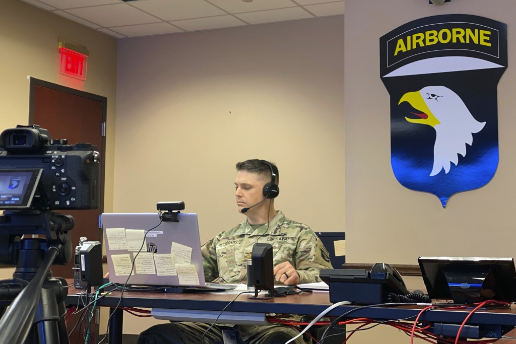 U.S. Army Maj. Evan Adams pitches his idea of a new mobile app to manage training areas on bases in real time on Tuesday, Oct. 27, 2020, at Fort Campb...