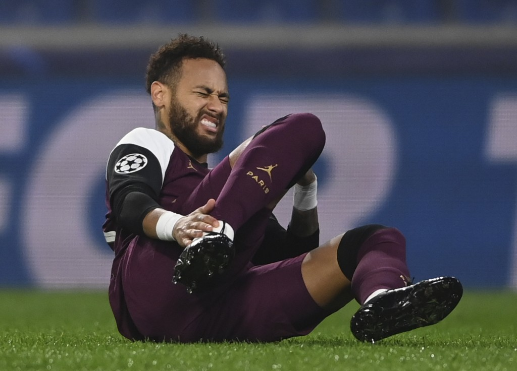 PSG's Neymar reacts after he was blocked during the Champions League group H soccer match between Basaksehir and PSG in Istanbul, Wednesday, Oct. 28, ...