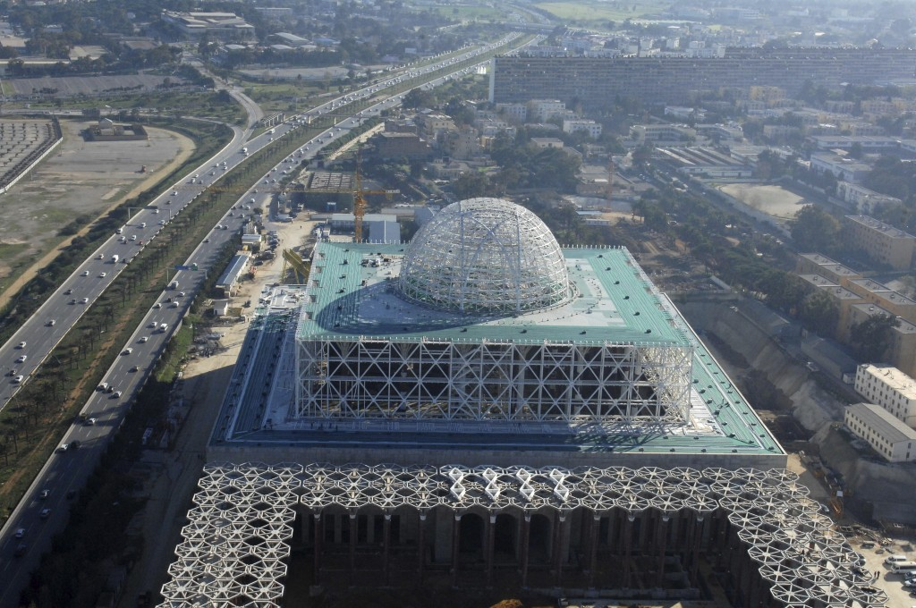 *File* In this Saturday, Jan. 7, 2017 file photo, the Mosque of Algiers is under construction in Algiers. Algeria's prime minister is finally to inaug...
