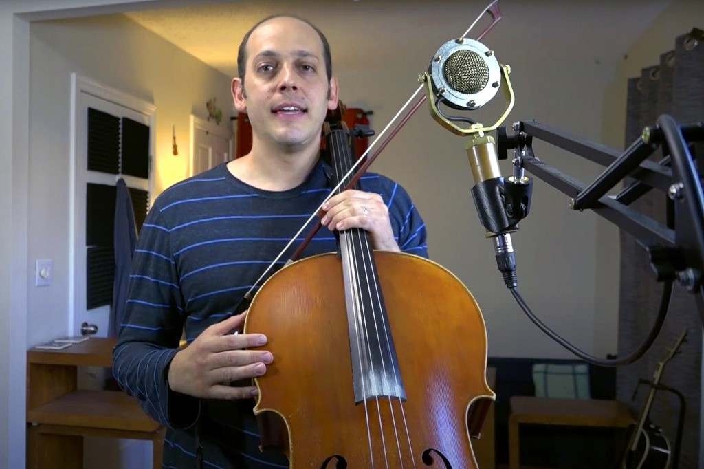 This Oct. 5, 2020, still image from video provided by Mike Block shows Block at his home in Somerville, Mass. The cellist, who teaches at the New Engl...
