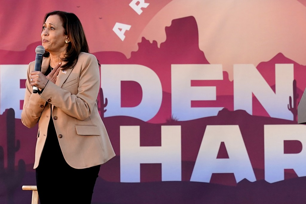 Democratic vice presidential candidate Sen. Kamala Harris, D-Calif., speaks at a mobile campaign event, Wednesday, Oct. 28, 2020, in Phoenix. (AP Phot...