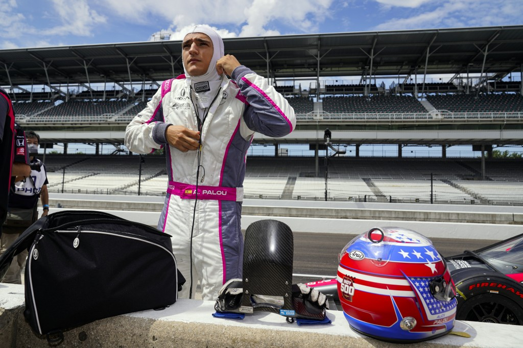 FILE -In this Aug. 14, 2020, file photo, Alex Palou, of Spain, prepares to drive during practice for the Indianapolis 500 auto race at Indianapolis Mo...